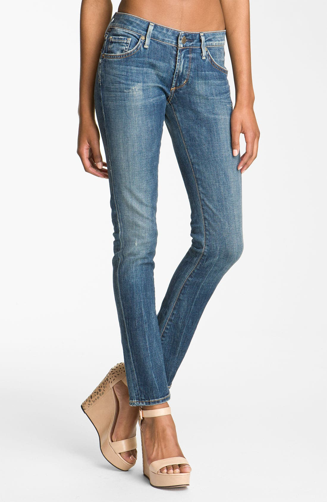 'Racer' Low Rise Skinny Jeans, Main, color, 400