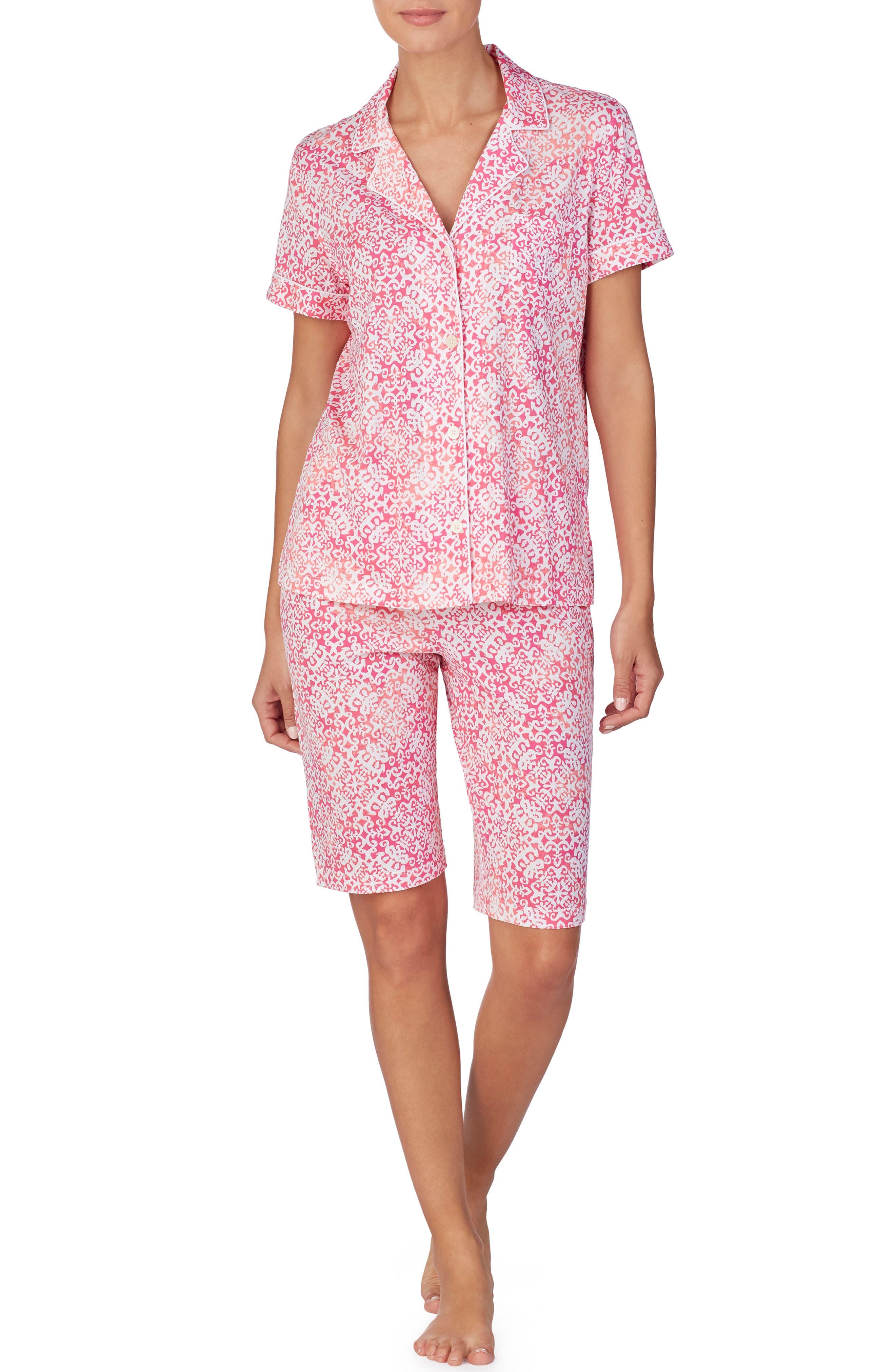 Plus Size Lauren Ralph Lauren Bermuda Short Pajamas, Pink