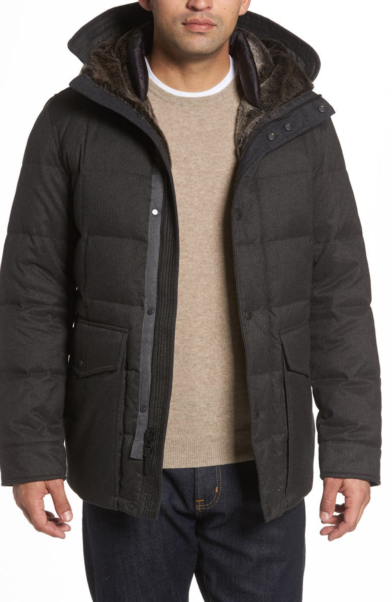 COLE HAAN Faux Fur Trim Mixed Media Hooded Down Jacket, Main, color, CHARCOAL