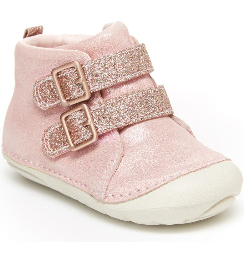 STRIDE RITE Soft Motion<sup>™</sup> Vera Glitter Bootie, Main, color, ROSE GOLD
