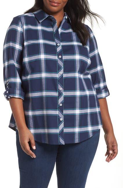 Image of FOXCROFT Zoey Brushed Windowpane Shirt