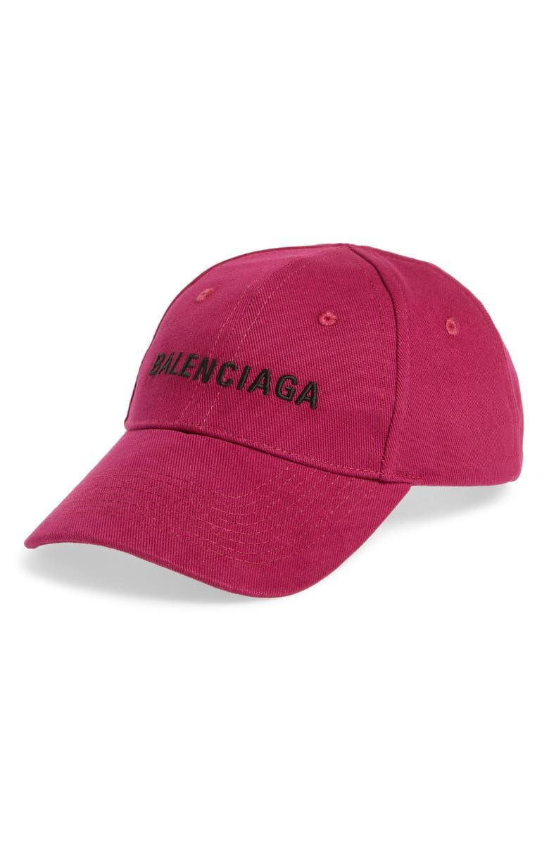 BALENCIAGA Classic Sea Baseball Cap, Main, color, AMARANTH/ BLACK