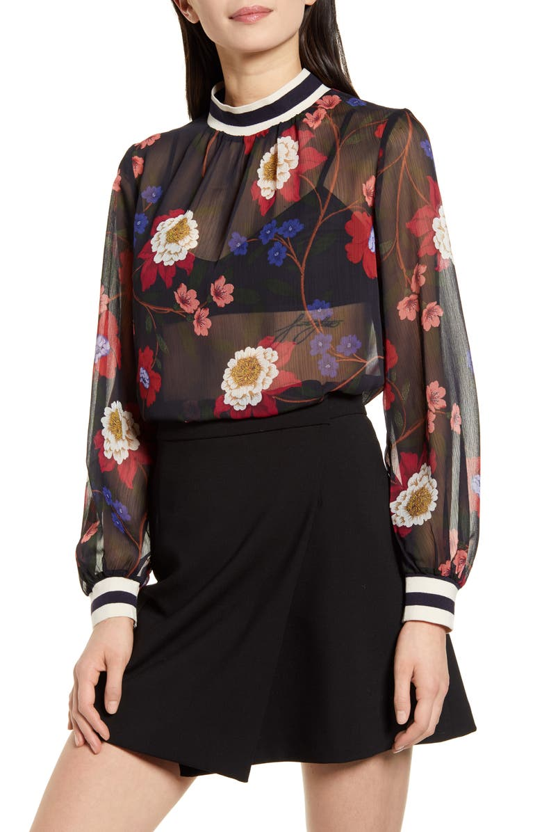 FRENCH CONNECTION Eloise Sheer Blouse, Main, color, UTILITY BLUE MULTI