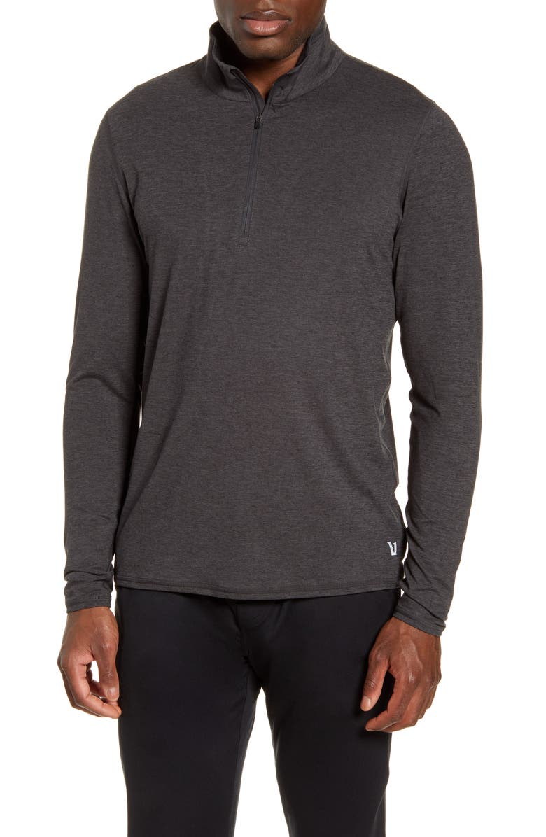 VUORI Ease Performance Half-Zip Pullover, Main, color, CHARCOAL HEATHER