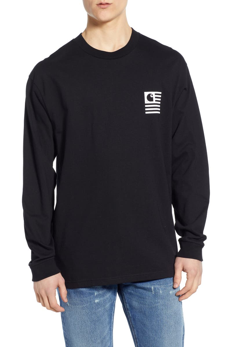 CARHARTT WORK IN PROGRESS State Patch Long Sleeve T-Shirt, Main, color, 001