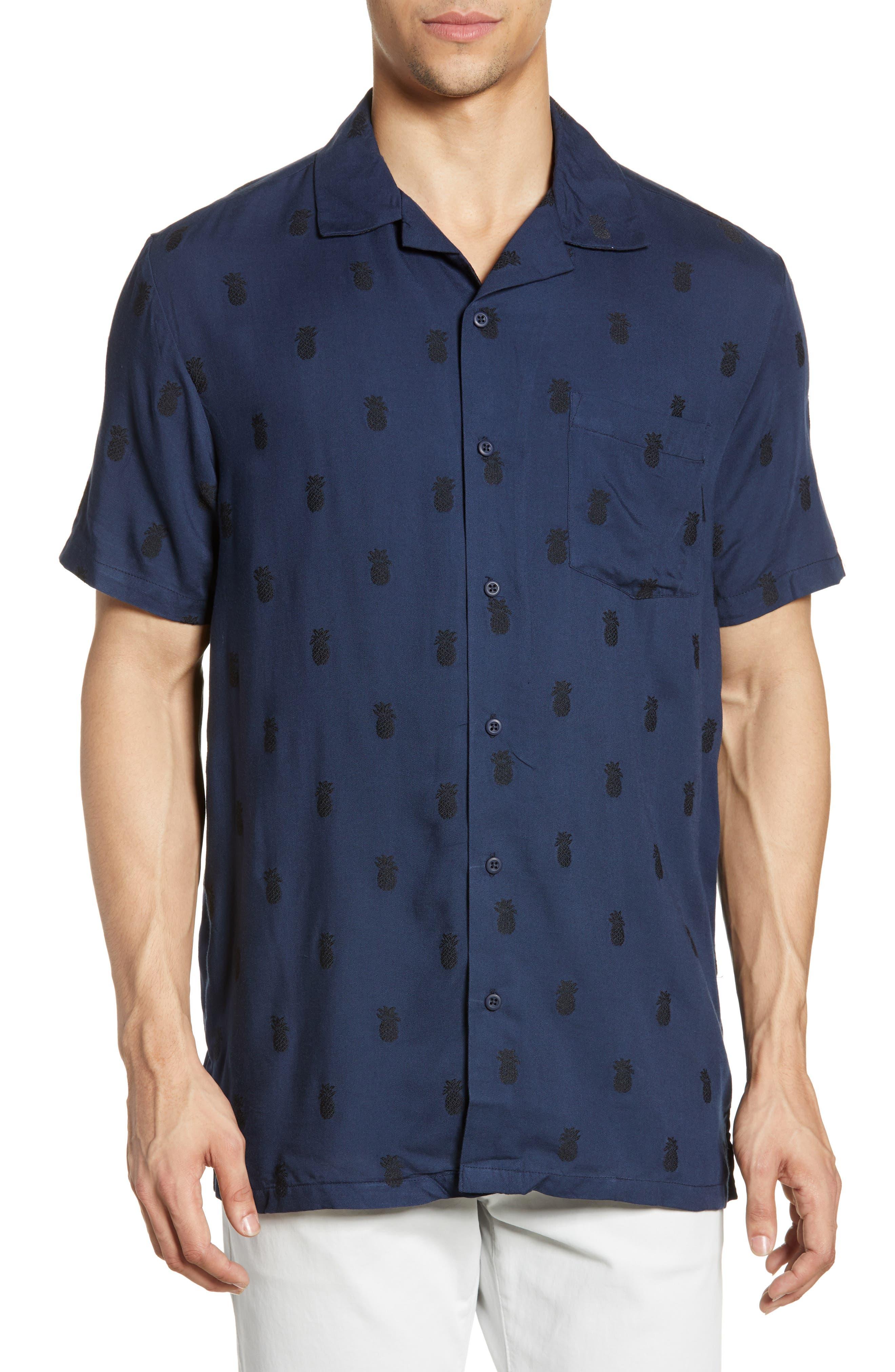 ,                             Pineapple Vacation Shirt,                             Main thumbnail 1, color,                             DEEP NAVY