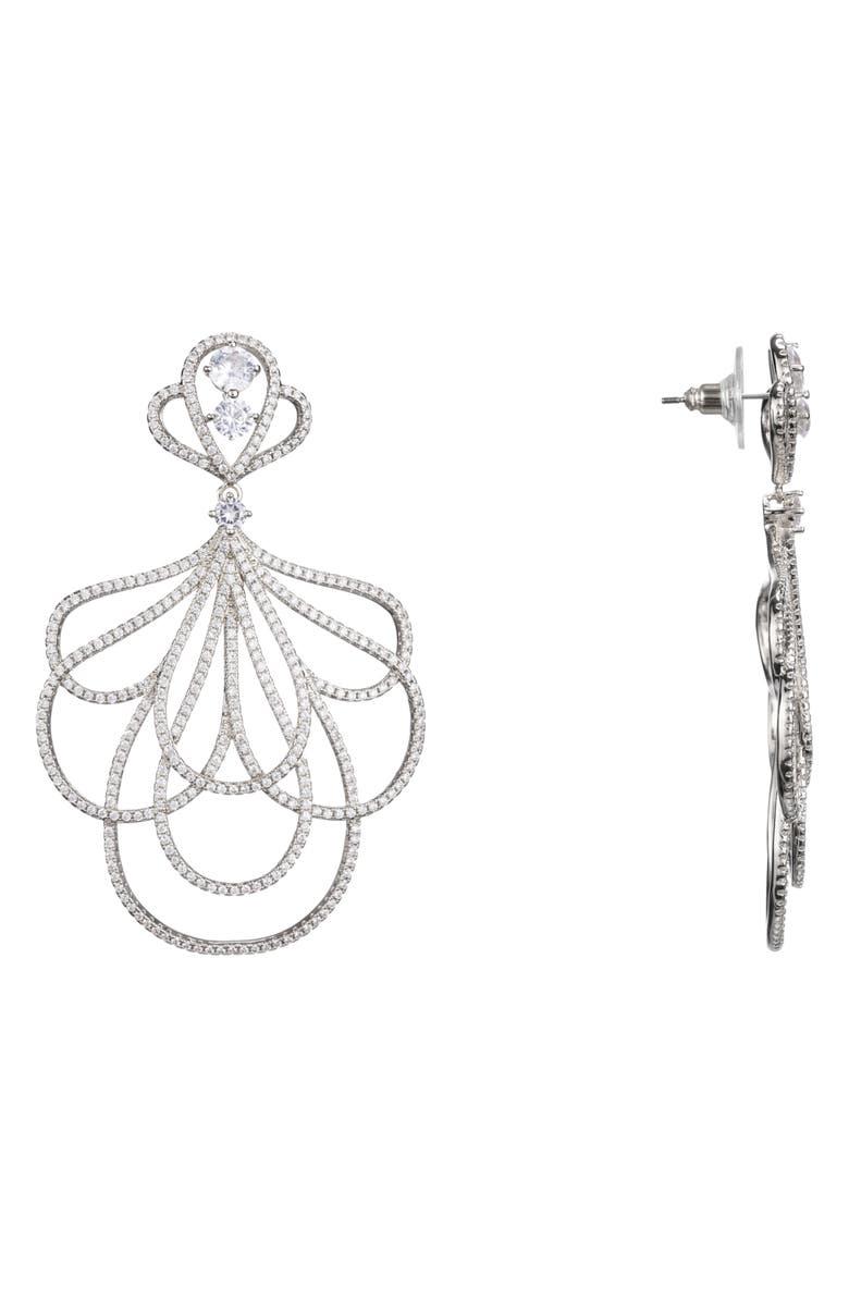 NINA Layered Petal Pavé Earrings, Main, color, RHODIUM/ WHITE