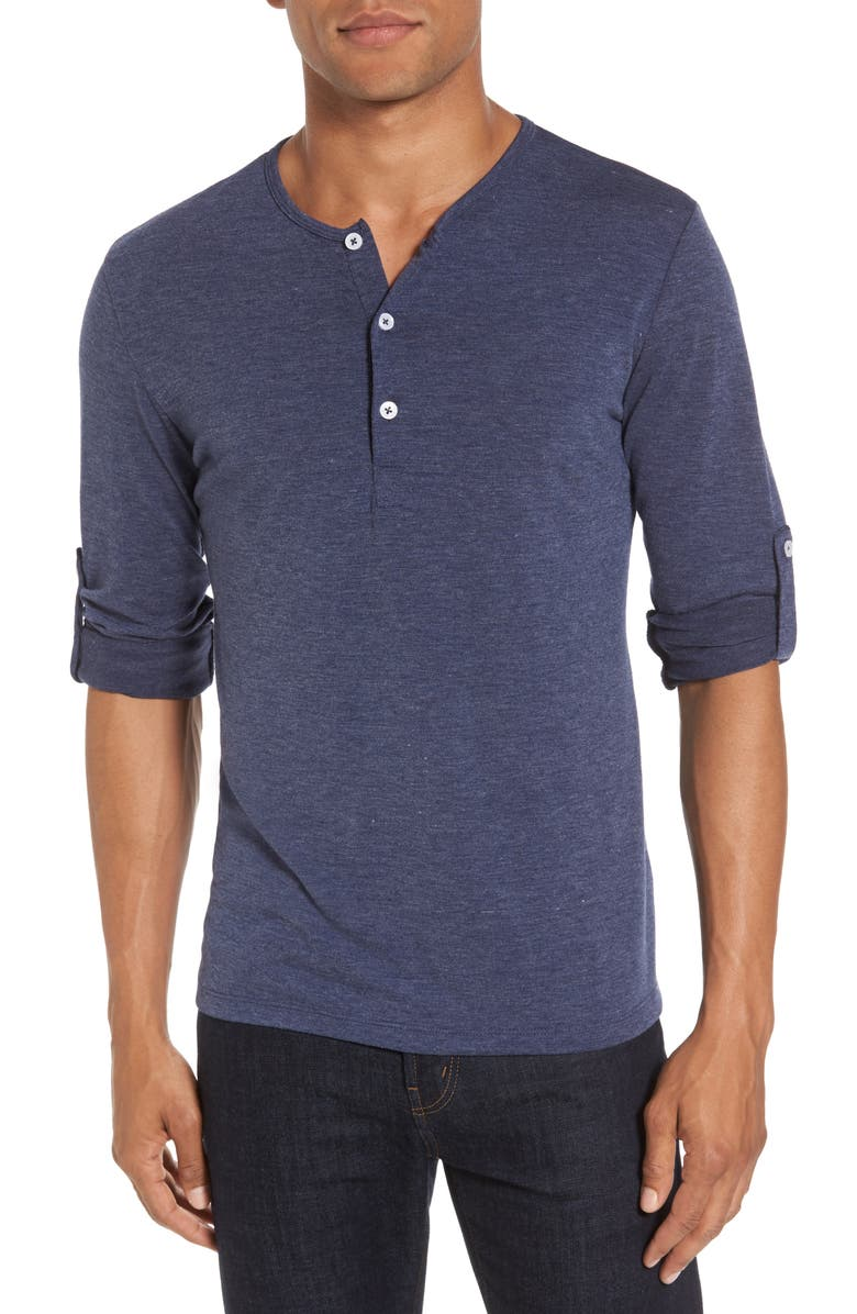 MIZZEN+MAIN Dawson Heather Navy Henley, Main, color, 400