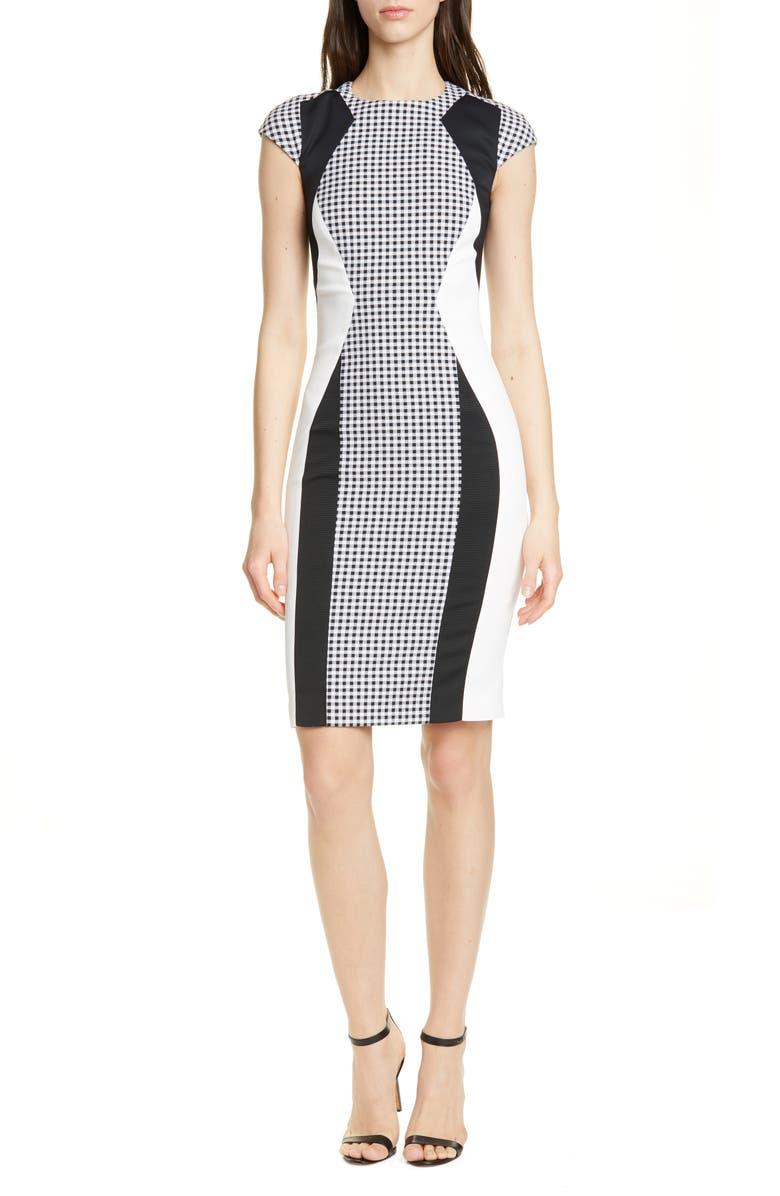 KAREN MILLEN Colorblock Sheath Dress, Main, color, 001
