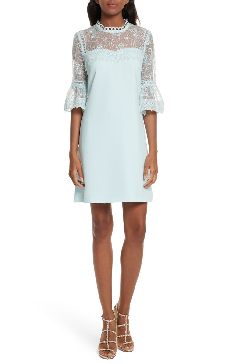 TED BAKER LONDON Raechal Lace Sleeve A-Line Dress, Main, color, 451