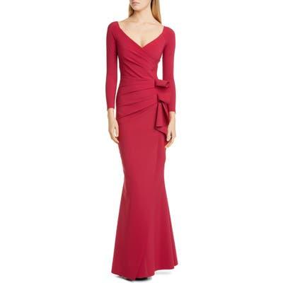 Chiara Boni La Petite Robe Long Sleeve Ruffle Trumpet Gown, US / 44 IT - Red
