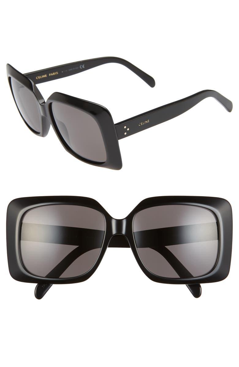 CELINE 60mm International Fit Square Sunglasses, Main, color, BLACK/ SMOKE