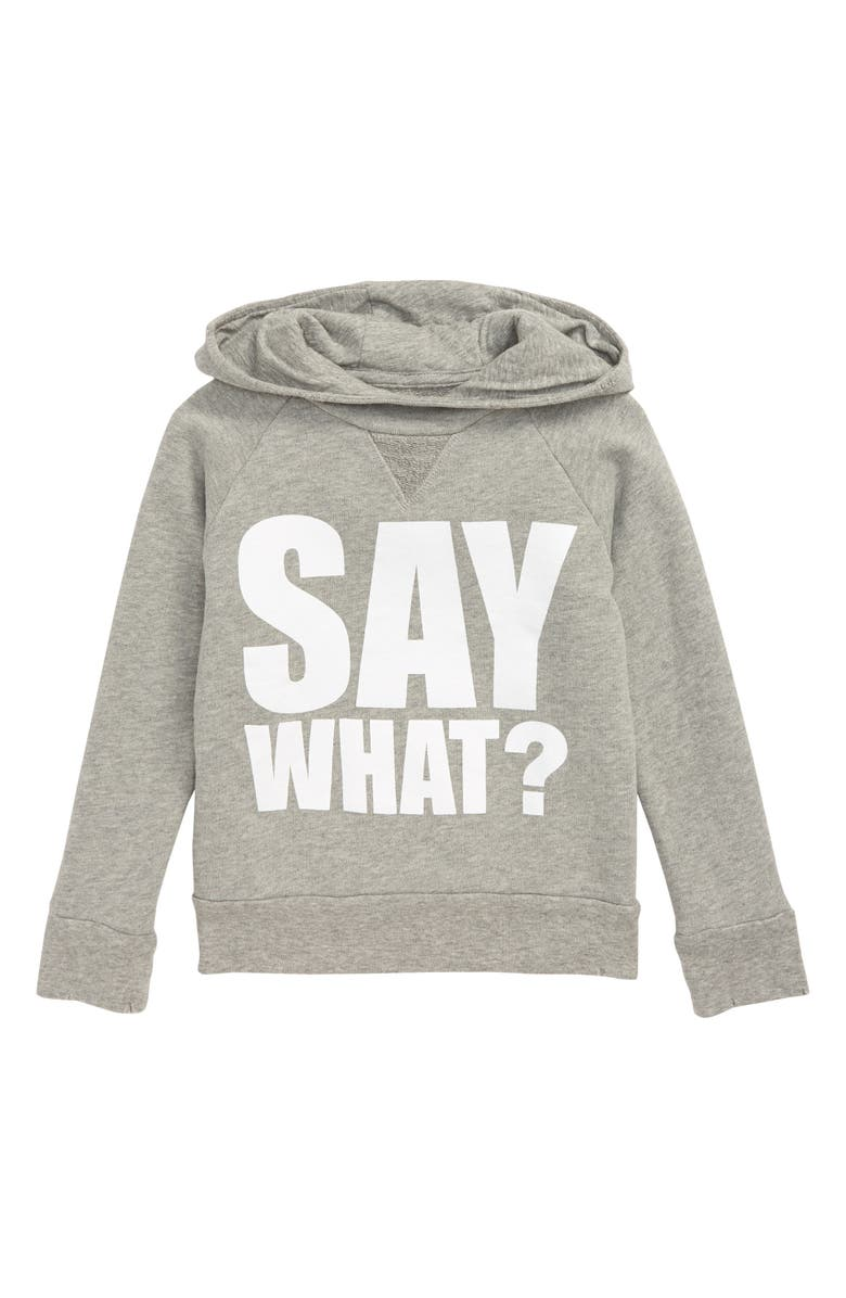 NUNUNU Say What? Fluffy Hoodie, Main, color, HEATHER GREY