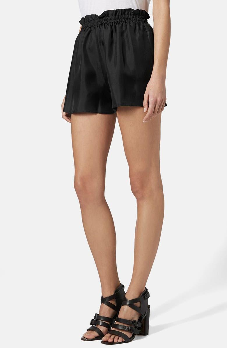 TOPSHOP BOUTIQUE Silk Shorts, Main, color, 001