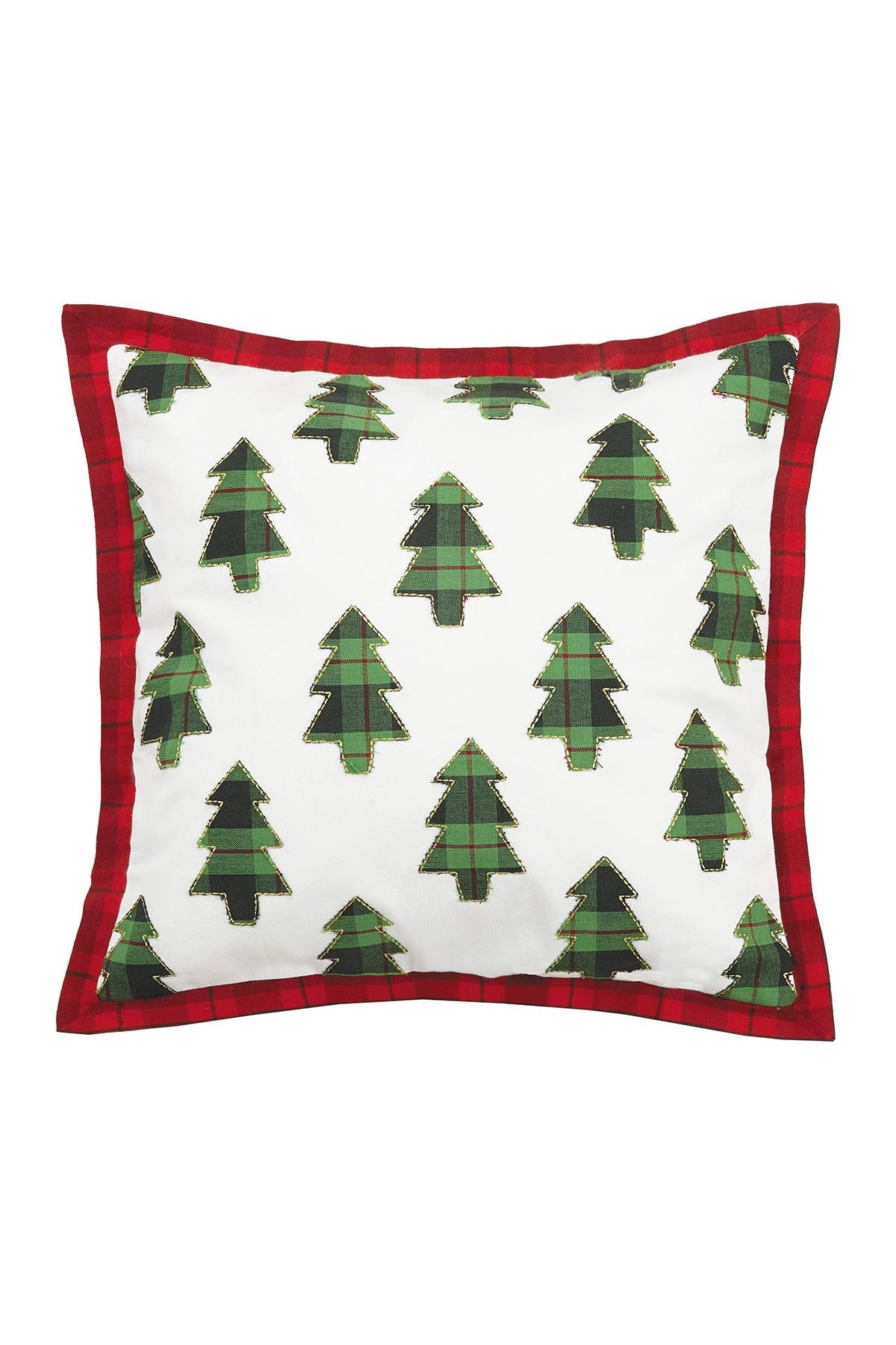Image of Peking Handicraft Multi Plaid Trees Applique Embroidered Pillow
