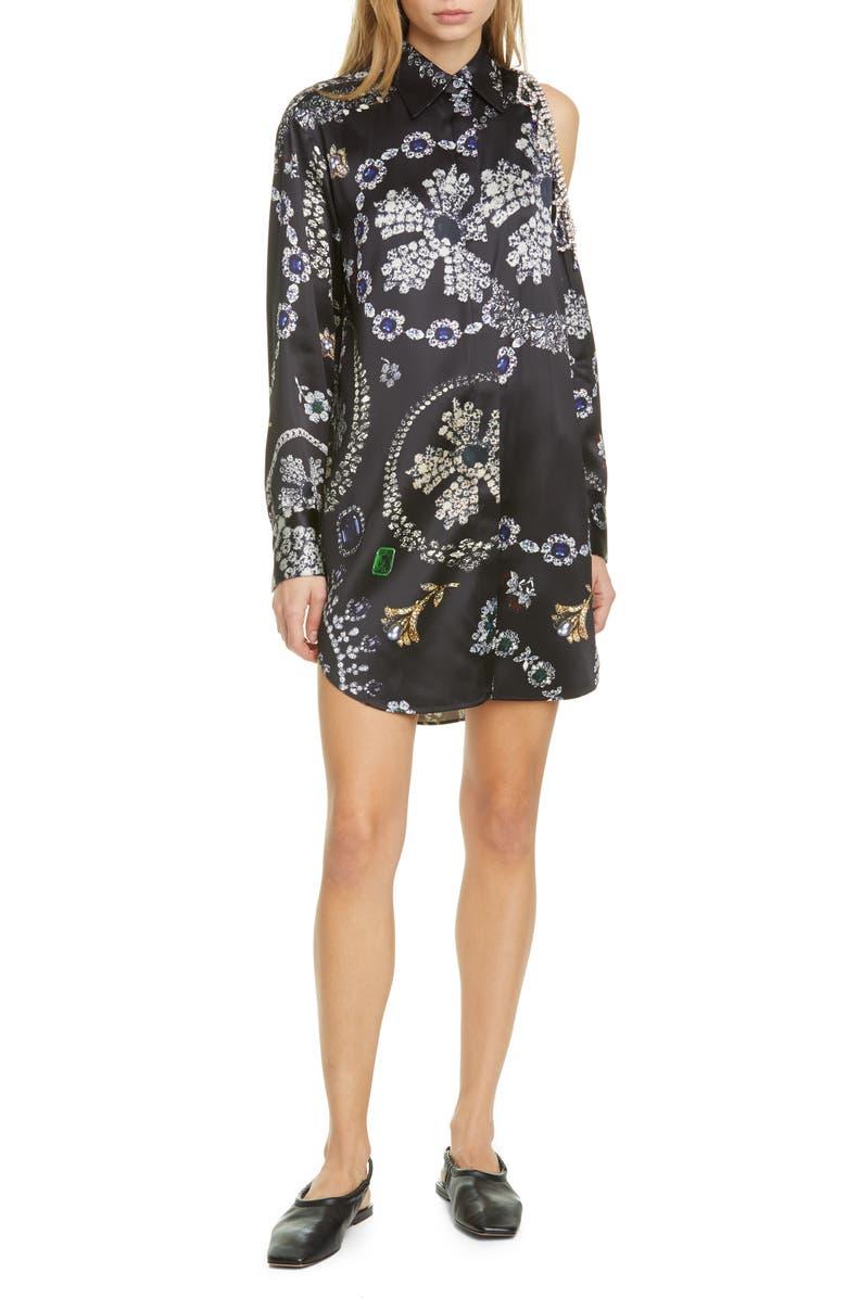 AREA Jewelry Print Long Sleeve Shoulder Cutout Shirtdress, Main, color, JEWELRY PRINT