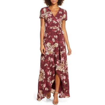 Wayf The Zoey Floral Print Short Sleeve Wrap Gown, Burgundy