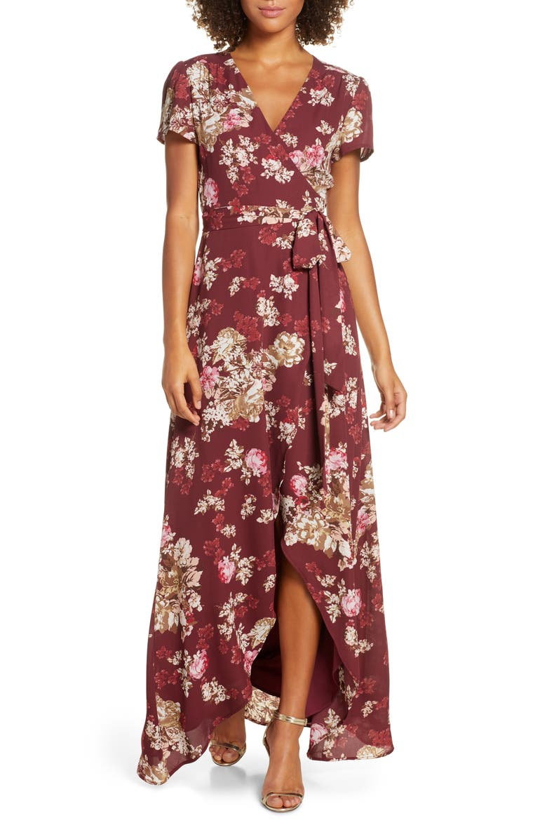 WAYF The Zoey Floral Print Short Sleeve Wrap Gown, Main, color, CABERNET FLORAL