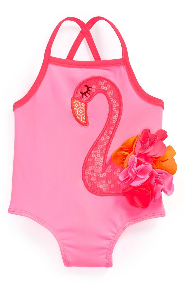 412dcff986 Mud Pie Flamingo One-Piece Swimsuit (Baby Girls) | Nordstrom