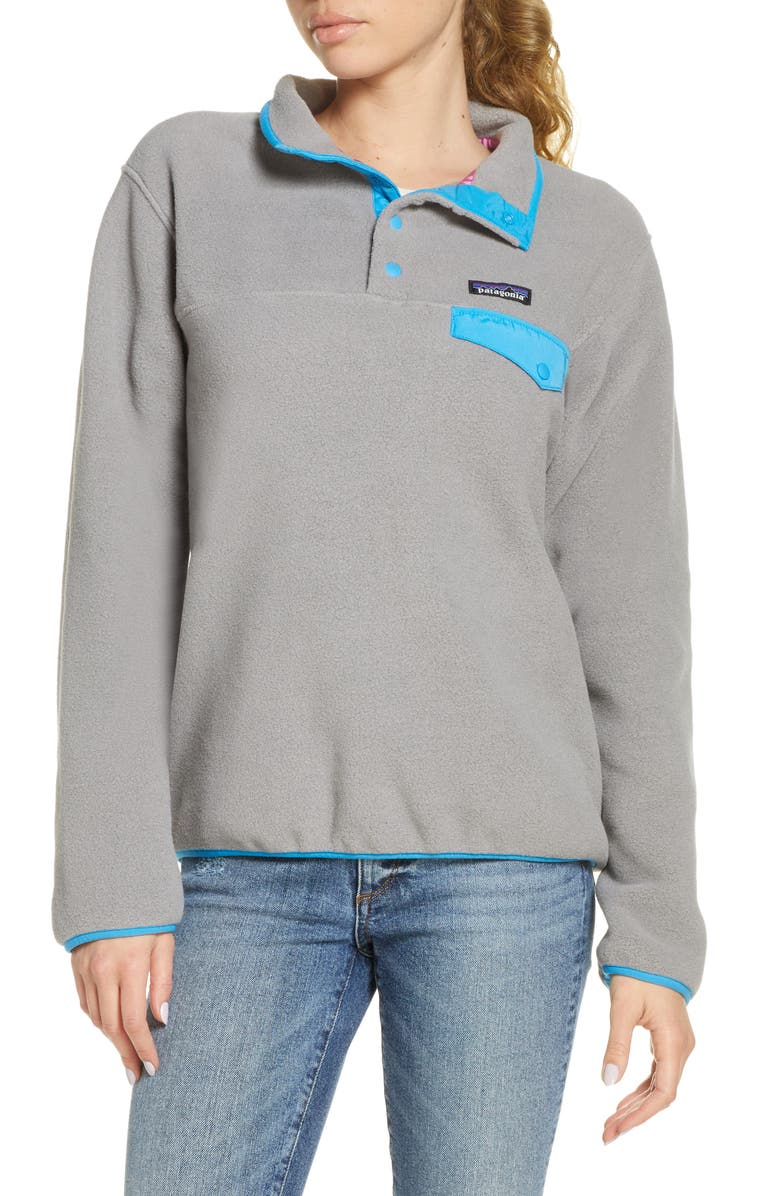 PATAGONIA Synchilla Snap-T<sup>®</sup> Recycled Fleece Pullover, Main, color, FEATHER GREY JOYA BLUE-FEJB