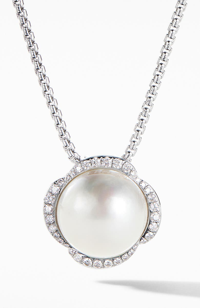 DAVID YURMAN Continuance Pearl Pendant Necklace with Diamonds, Main, color, PEARL/ DIAMOND
