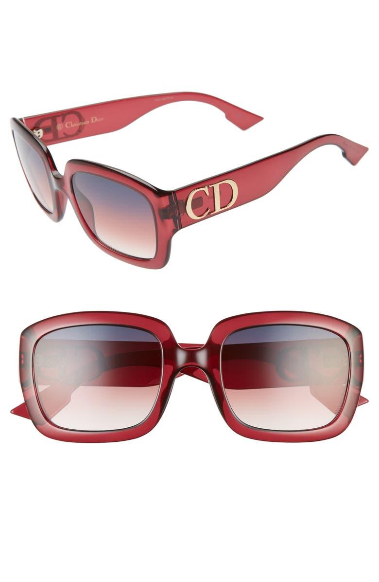 DIOR 54mm Square Sunglasses, Main, color, OPAL BURGUNDY