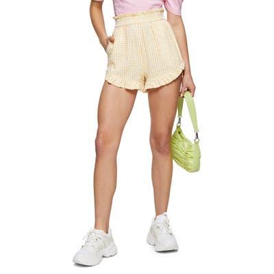 Topshop Seersucker Gingham Shorts, US - Yellow