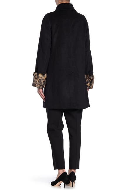Image of Tahari Aubrey Faux Fur Cuffed Wool Blend Coat