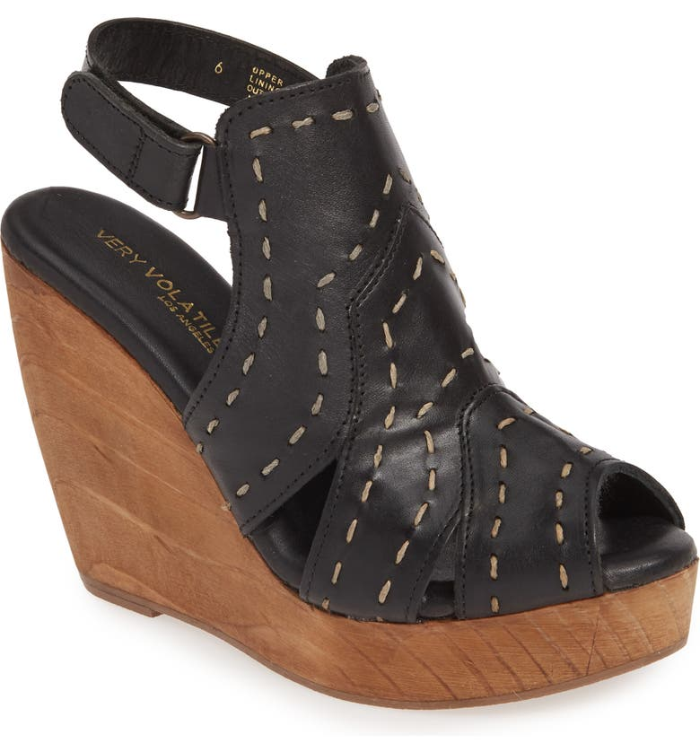 VERY VOLATILE Terra Platform Wedge Sandal, Main, color, BLACK