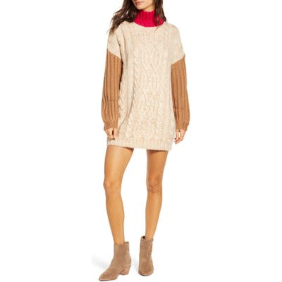 Moon River Colorblock Mock Neck Sweater Dress, Pink