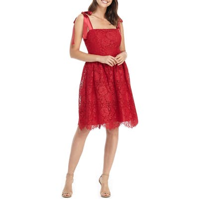 Gal Meets Glam Collection Lucia Satin Strap Lace Dress, Red