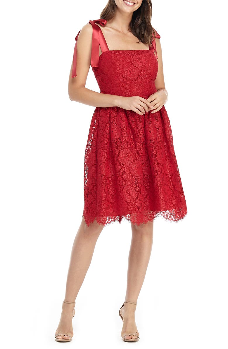 GAL MEETS GLAM COLLECTION Lucia Satin Strap Lace Dress, Main, color, CRANBERRY