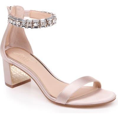 Jewel Badgley Mischka Katerina Ankle Strap Sandal, Beige