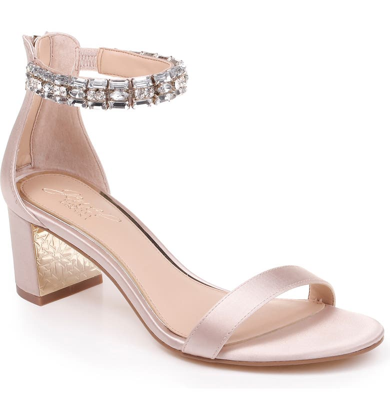 JEWEL BADGLEY MISCHKA Katerina Ankle Strap Sandal, Main, color, CHAMPAGNE CRYSTAL SATIN
