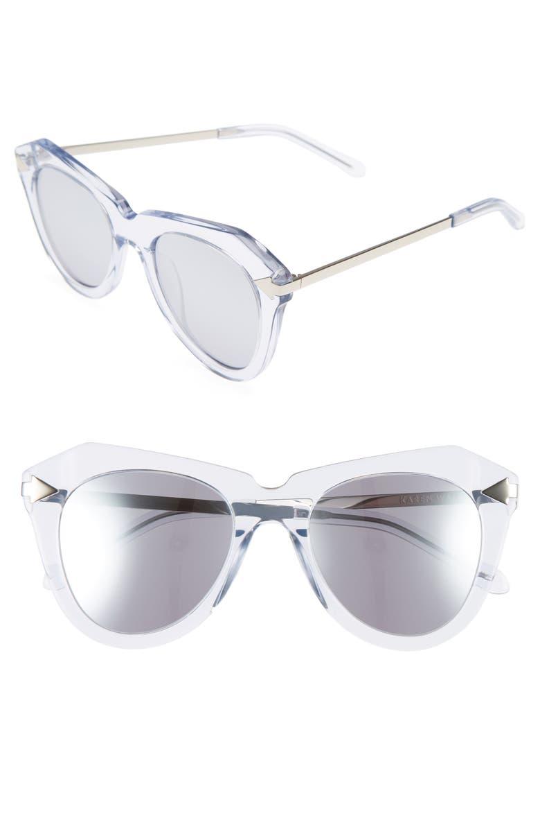 KAREN WALKER One Star 50mm Retro Sunglasses, Main, color, 100