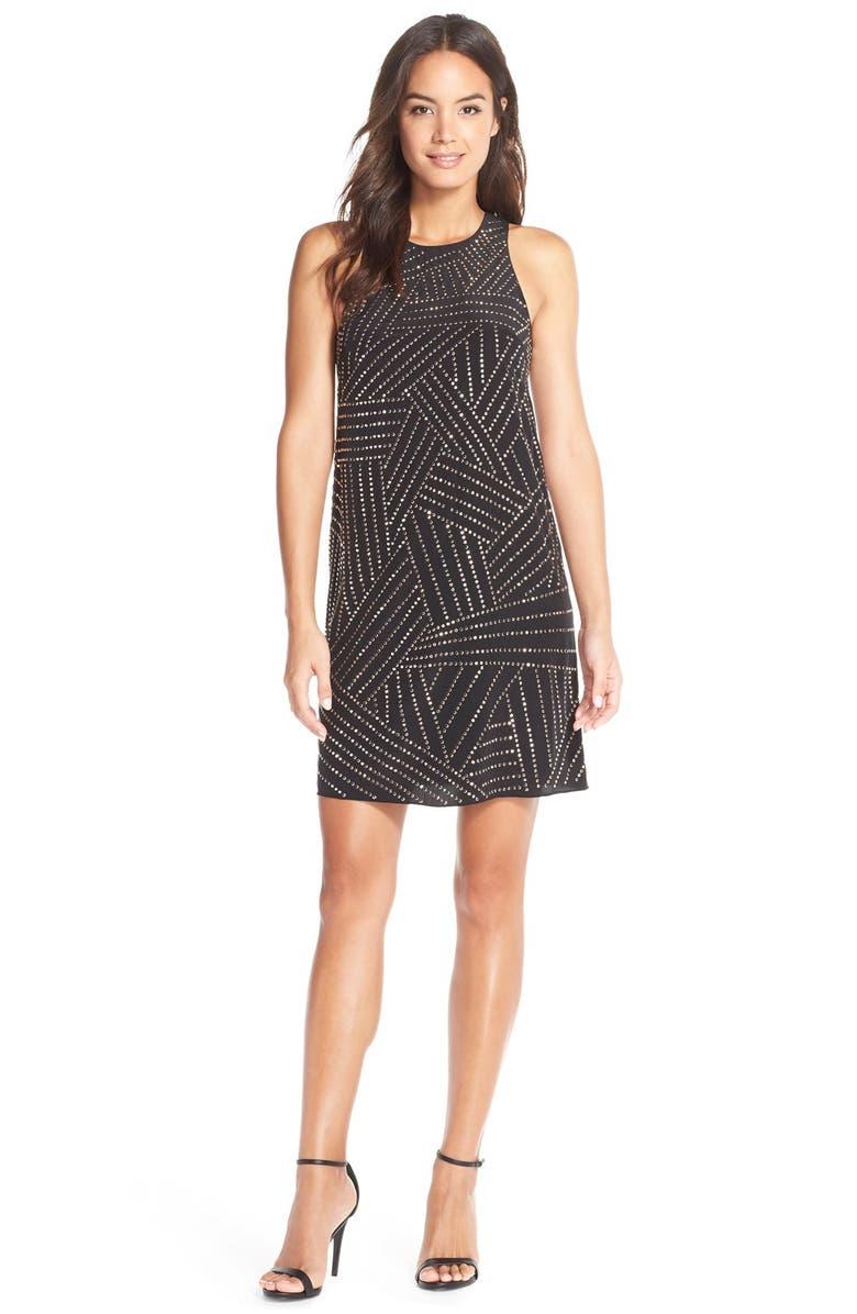 TRINA TURK BeadedSilk Shift Dress, Main, color, 001