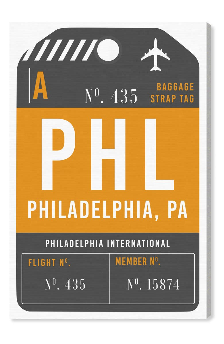 OLIVER GAL Philadelphia Luggage Tag Wall Art, Main, color, 800