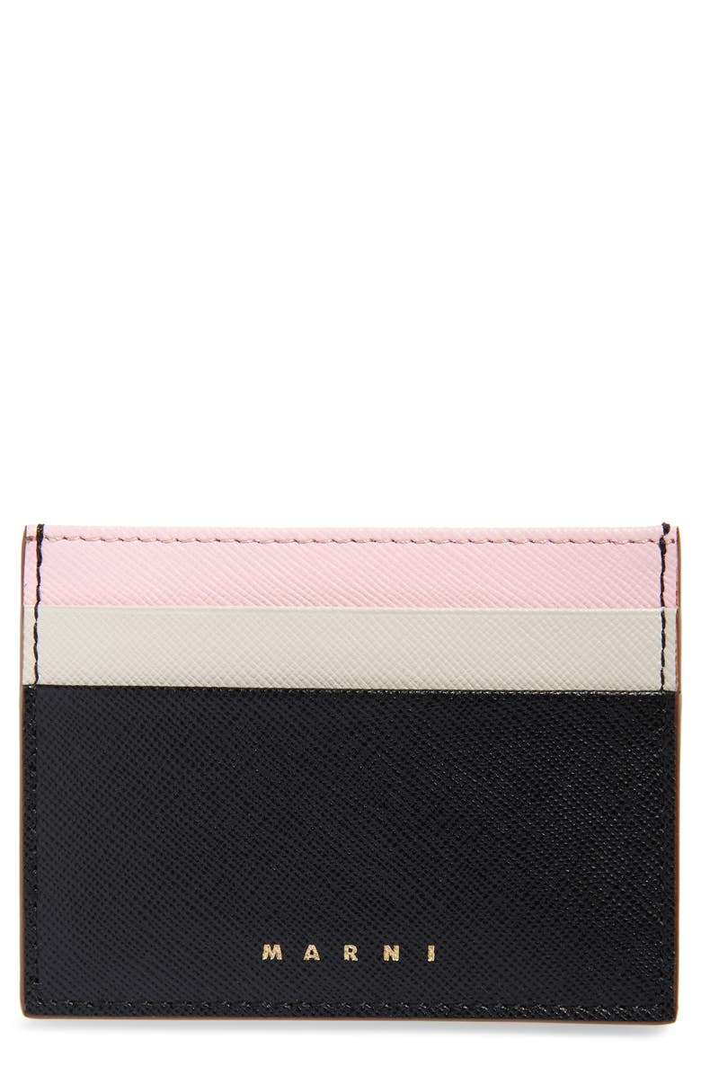 MARNI Vanity Color Block Leather Card Holder, Main, color, BLACK/ ANTIQUE WHITE