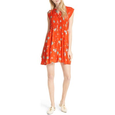 Free People Greatest Day Smocked Minidress, Red