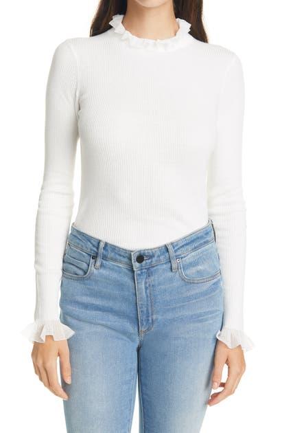 Ted Baker Dvana Ruffle Neck Sweater In White