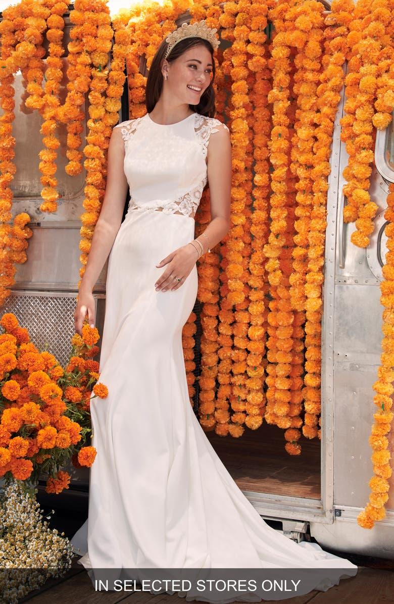 WILLOWBY Nesryne Lace & Crepe Trumpet Wedding Dress, Main, color, IVORY
