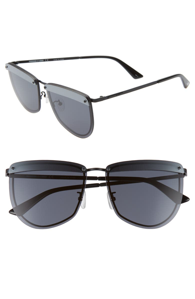 MCQ ALEXANDER MCQUEEN 61mm Cat Eye Sunglasses, Main, color, MATTE BLACK/ SMOKE