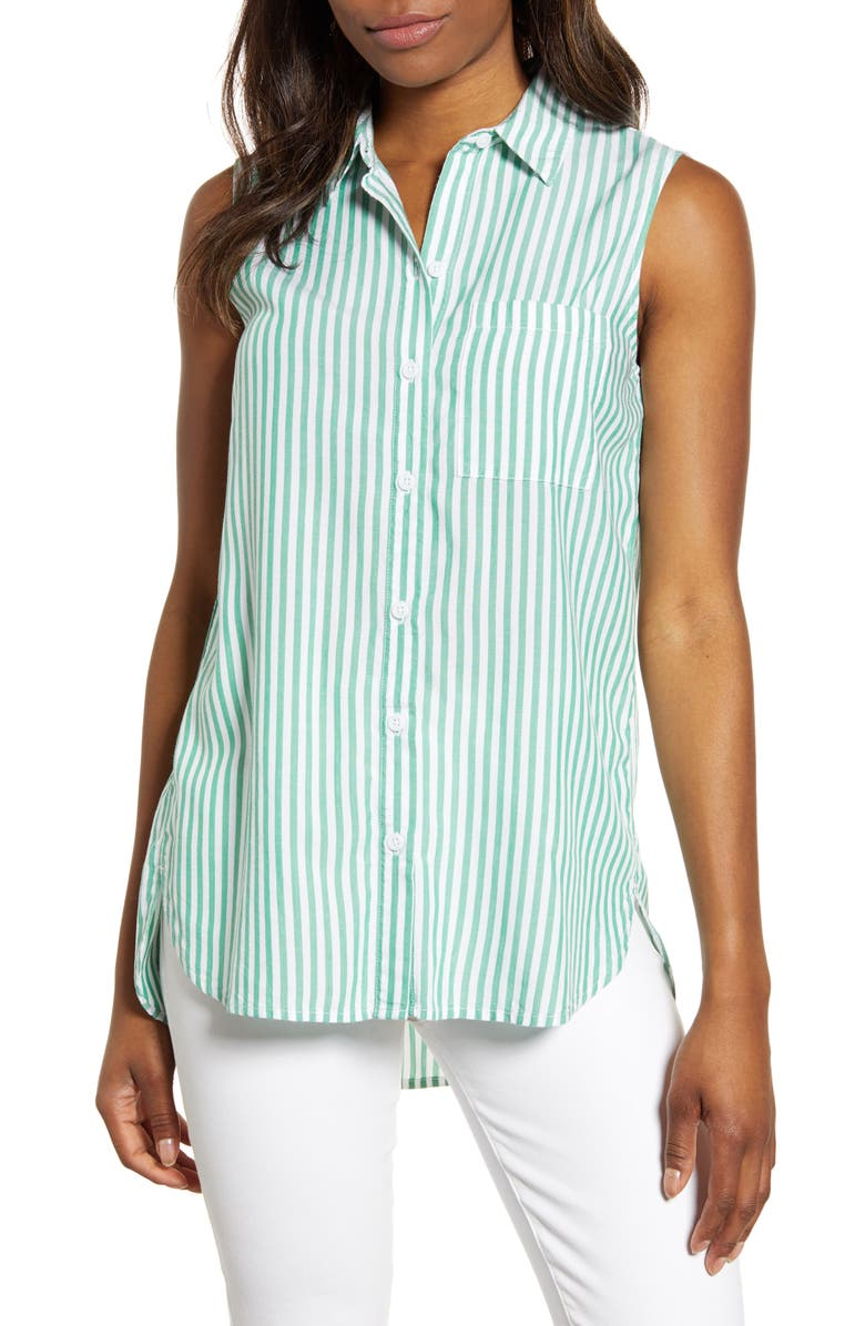 BEACHLUNCHLOUNGE Ana Sleeveless Stripe Shirt, Main, color, GREEN SAGE