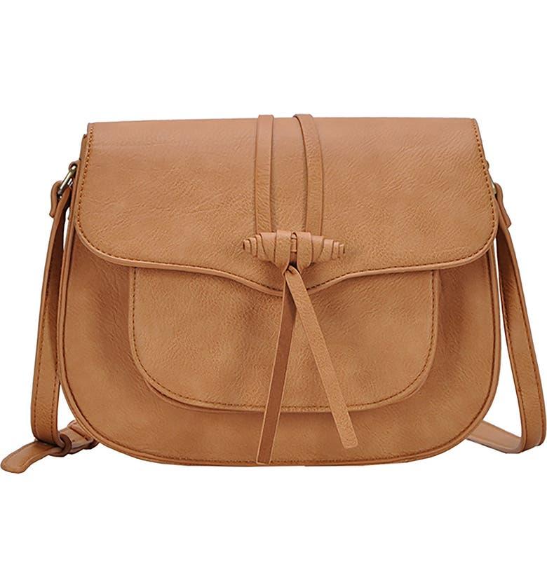ANTIK KRAFT Knotted Faux Leather Saddle Bag, Main, color, CAMEL
