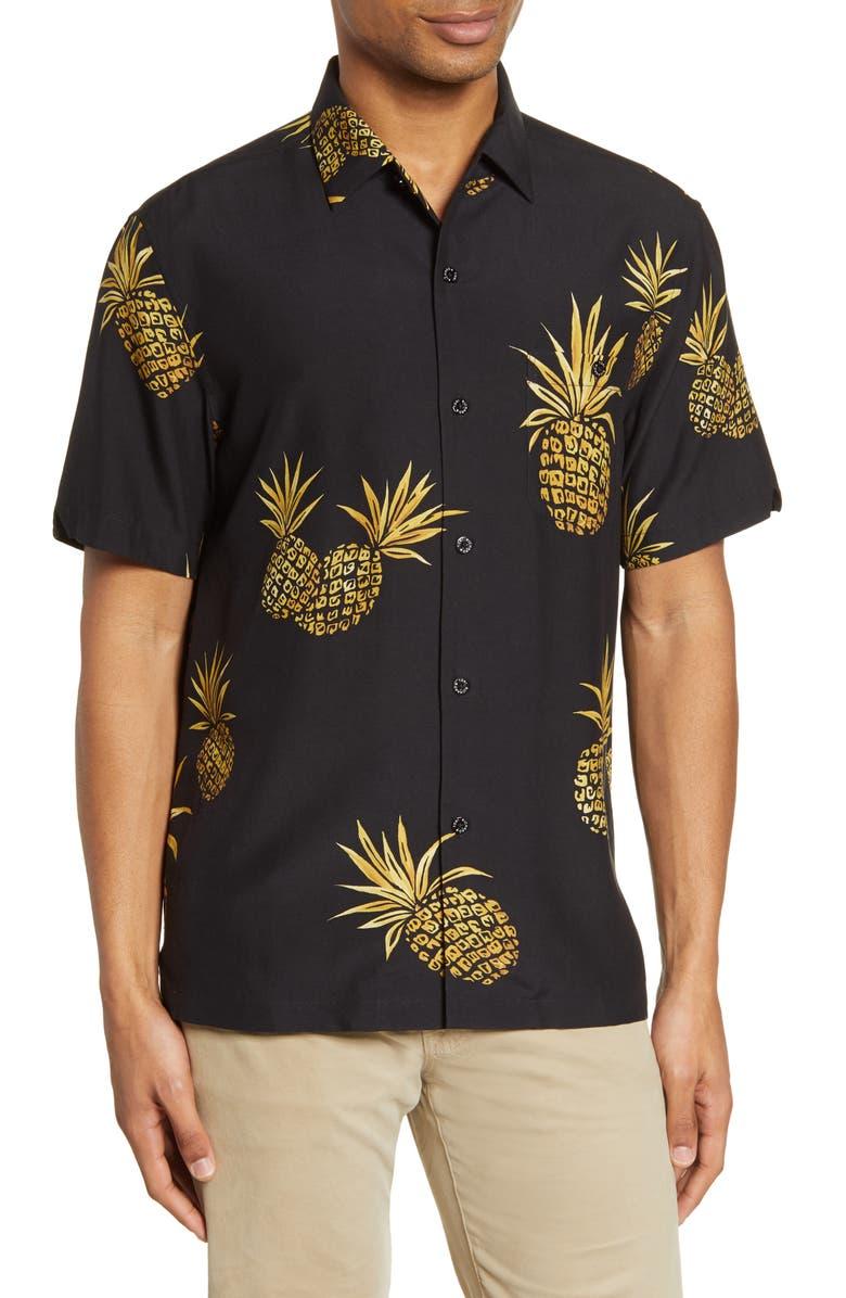 TORI RICHARD Collective Fruit Pineapple Print Silk Blend Button-Up Shirt, Main, color, BLACK
