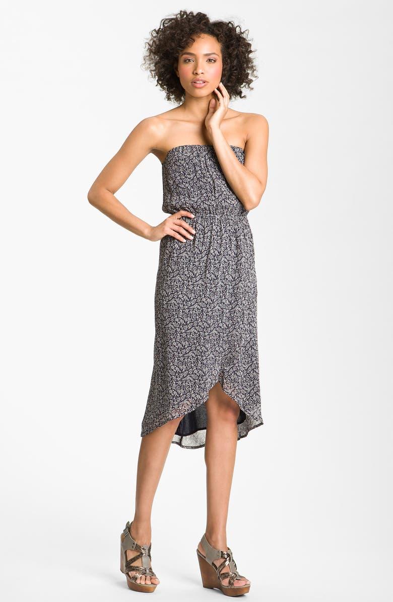 PEACE & PEARLS Strapless Faux Wrap Dress, Main, color, 410