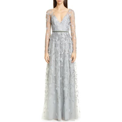 Marchesa Notte Leaf Embroidered Long Sleeve Tulle Gown, Metallic