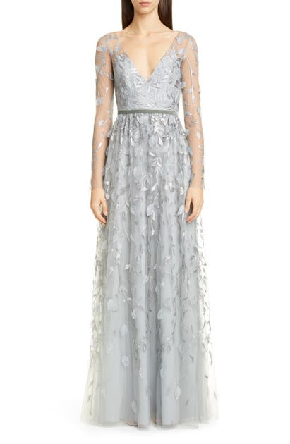 Marchesa Notte Tops LEAF EMBROIDERED LONG SLEEVE TULLE GOWN