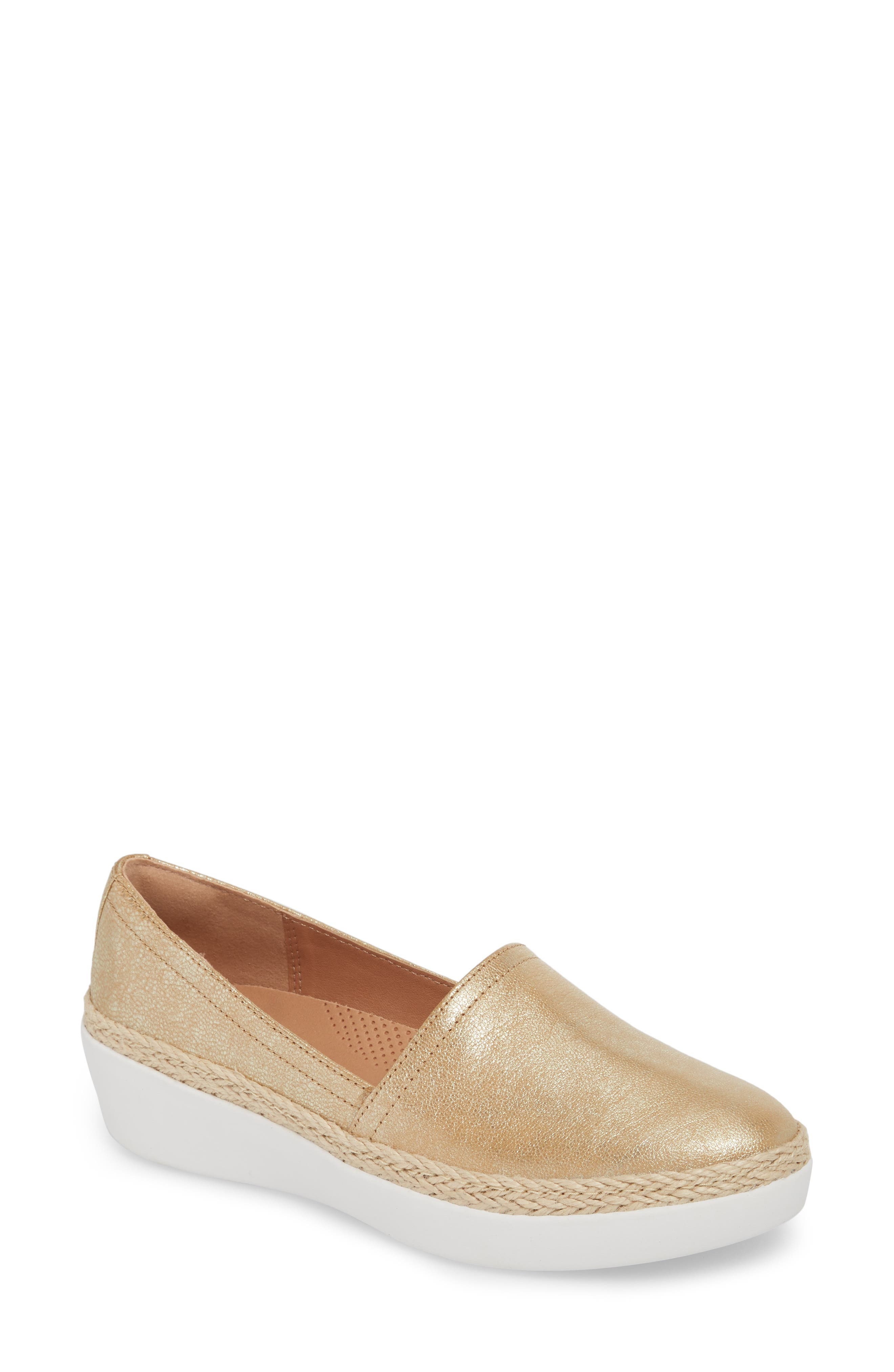 ,                             Casa Loafer,                             Main thumbnail 1, color,                             METALLIC GOLD LEATHER