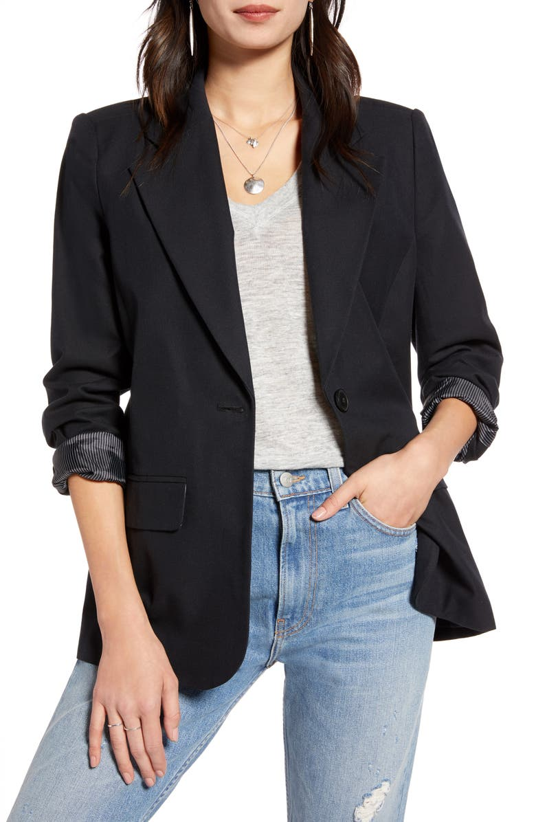 TREASURE & BOND Textured One-Button Blazer, Main, color, BLACK